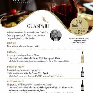 Jantar Harmonizado Vinícola Guaspari